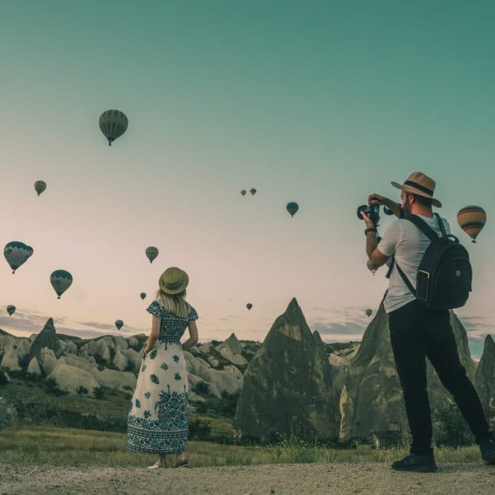 woman influencer with hot air balloons