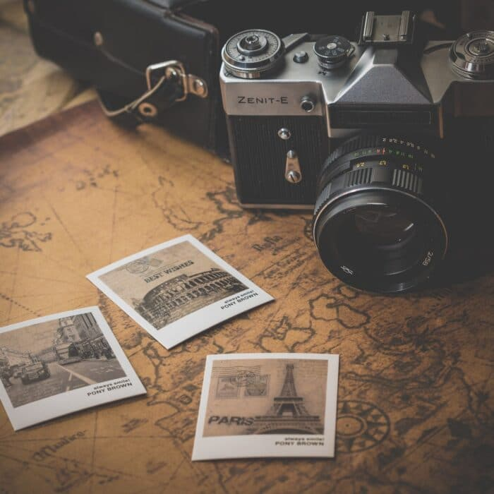 map and photographs and camera