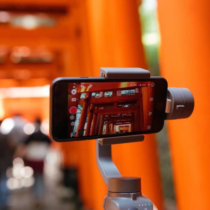 camera filming Japan on a tripod