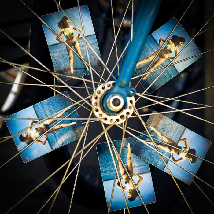 woman pictures in bike spokes
