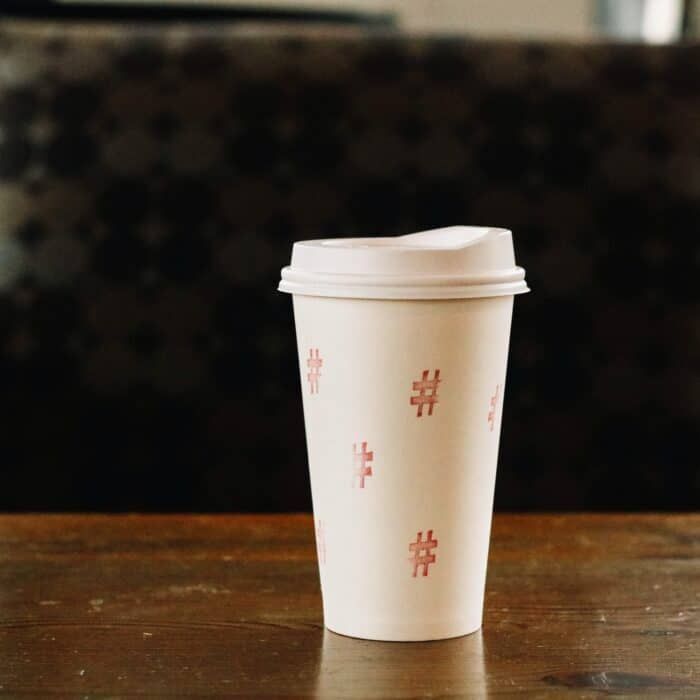 hashtag symbols on a cup