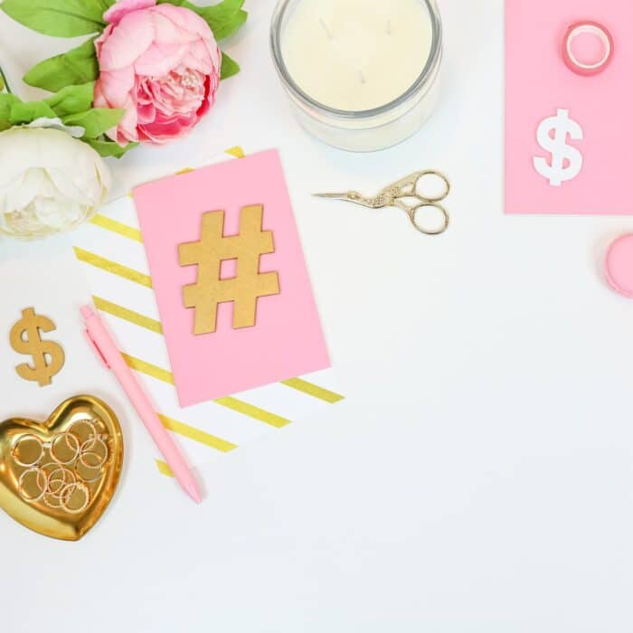 hashtags and postits with candle and planning