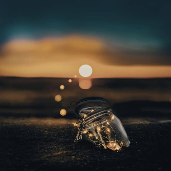 magi jar with start and lights in jar sunset