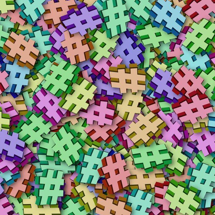 pile of hashtag symbols