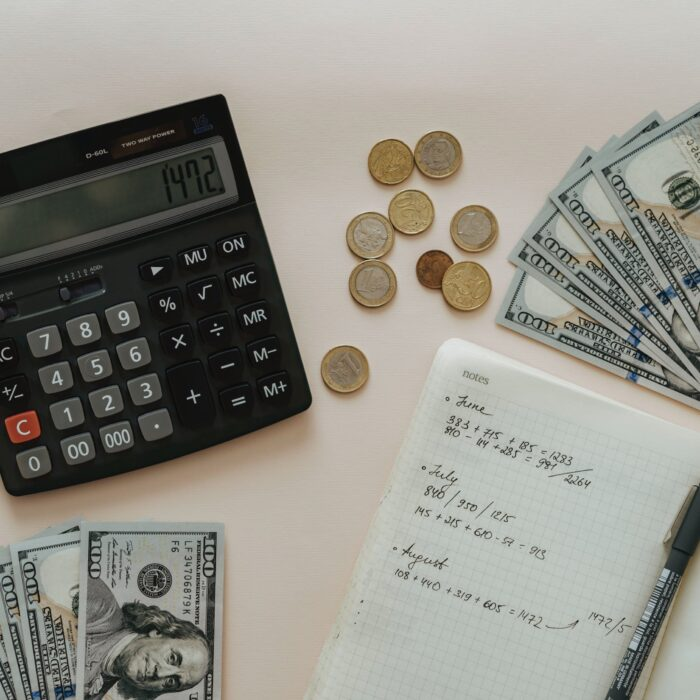 taxes and cash and money and calculator