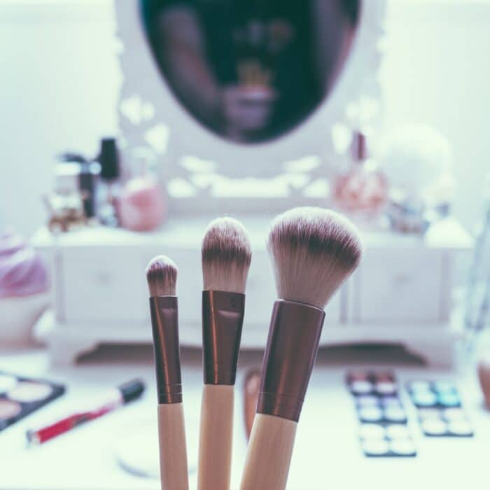 makeup and brushes vanity