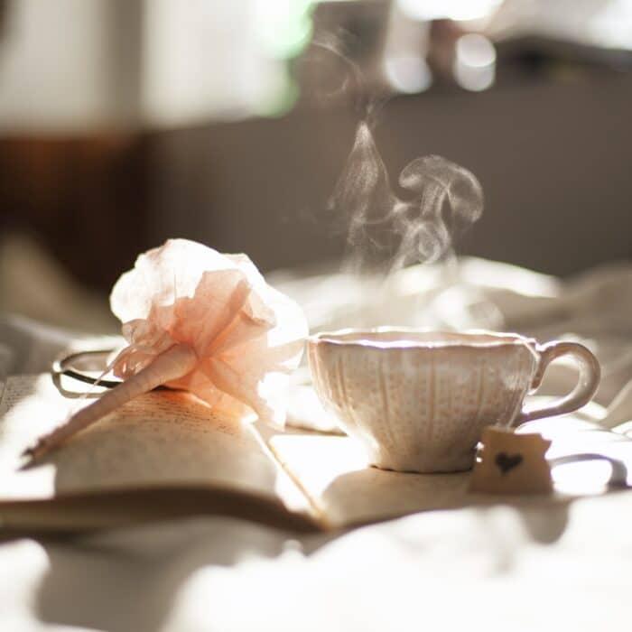 tea, journal, write, fancy pen