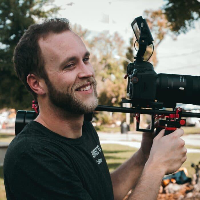 camera video youtuber videographer man