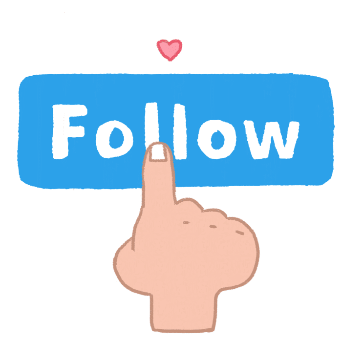 hand pressing follow button