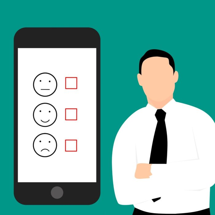 survey on phone smiley faces