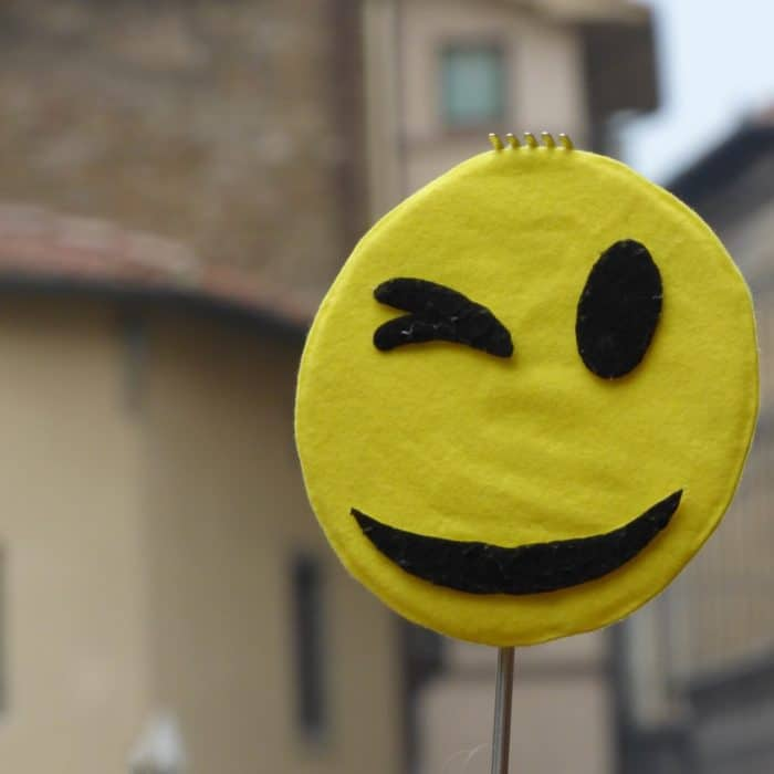 Wink emoji circle