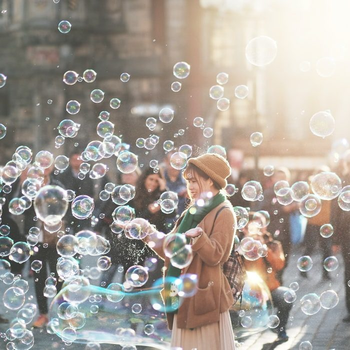 woman with bubbles