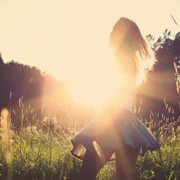 woman with sunbeam